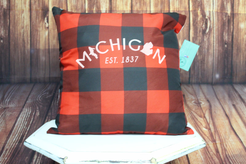 Throw Pillow (Michigan Est. 1837) Red and Black Plaid