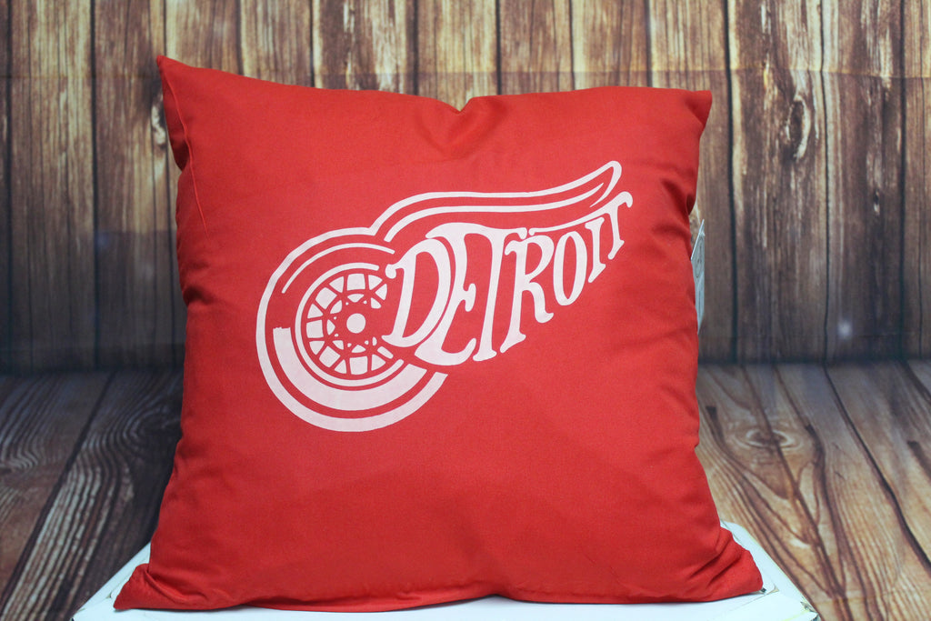 Throw Pillow (Detroit) Red