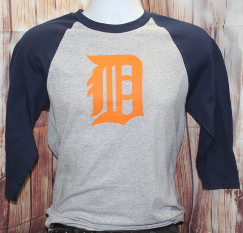 Men's Raglan Baseball Detroit D T-Shirt