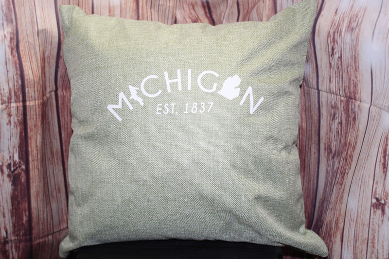 Throw Pillow (Michigan Est.1837) Light Olive Green