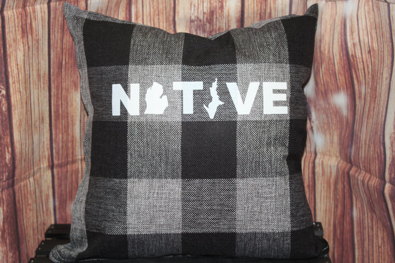 Throw Pillow (Native) Black and Grey Plaid