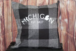 Throw Pillow (Michigan Est.1837) Black and Grey Plaid
