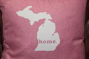 "Throw Pillow (State of Michigan ""home"") Pink"