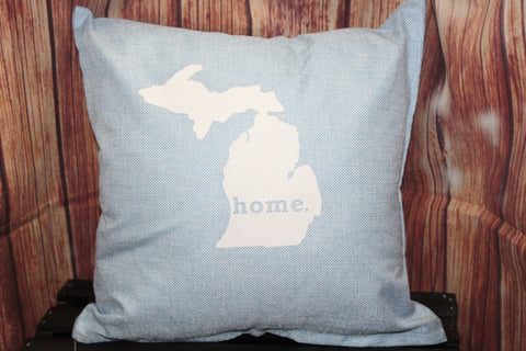 "Throw Pillow (State of Michigan ""home"") Light Blue"