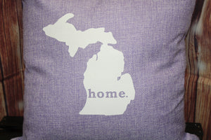 "Throw Pillow (State of Michigan ""home"") Purple"