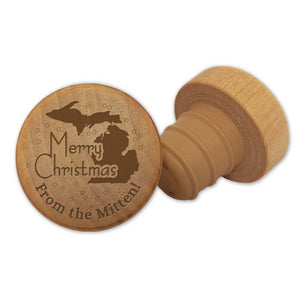 Merry Christmas Michigan Wine Stopper