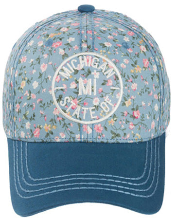 Women's Blue Spring Floral Michigan Outline Baseball Hat