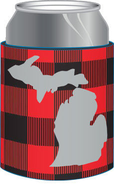 Michigan Buffalo Plaid Can Cooler