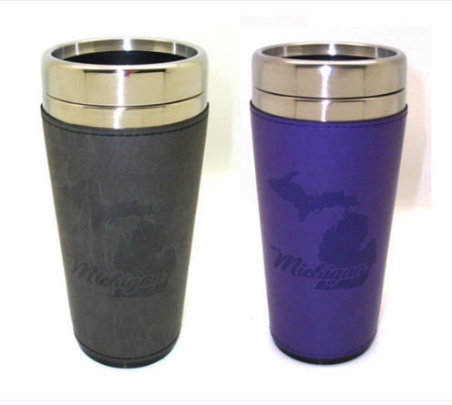 Michigan Embossed Travel Leather Mug - Asstd Colors