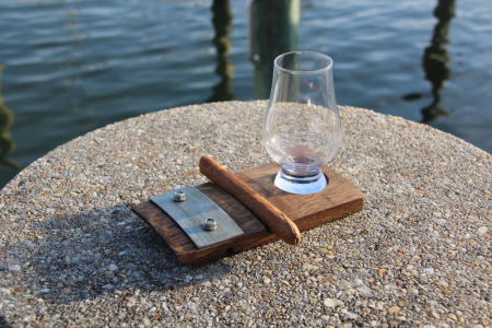 Whiskey Barrel Coaster with Cigar Holder