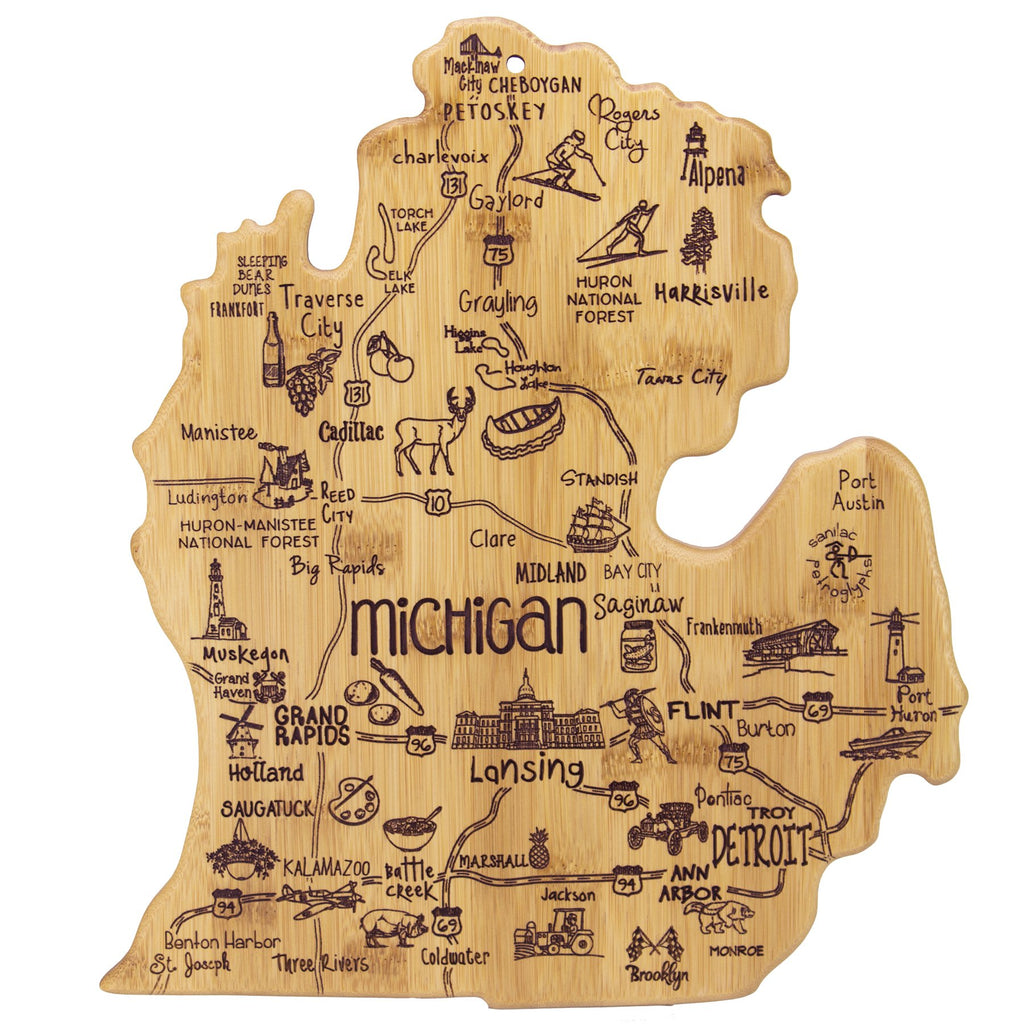 Michigan Shaped Icon Cutting Board Serving Tray