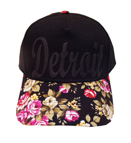 Floral Black On Black Detroit Baseball Hat