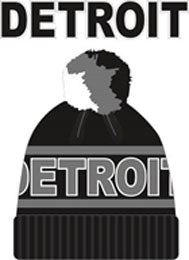 Detroit Black and Grey Thick Winter Hat