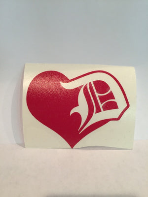 Detroit Love Heart Decal - Great Lakes Gift Co.