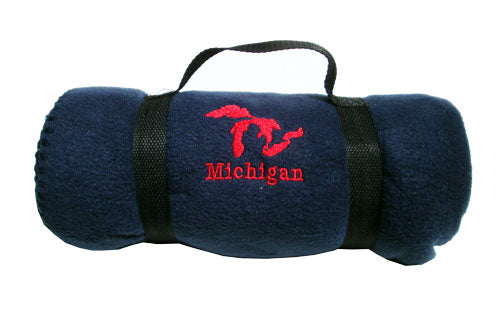 Michigan Embroidered Navy / Red Fleece Blanket