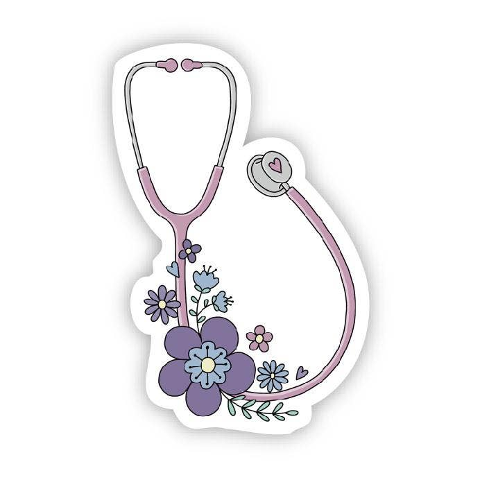 Floral Stethoscope Sticker Covid 19
