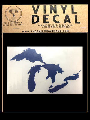 Michigan Lakes Outline Car Decal Sticker Asstd Colors