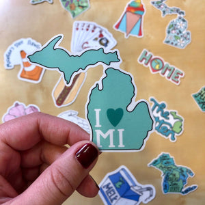 I heart MI mitten sticker - Michigan Sticker