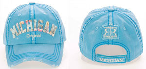 Blue Floral Michigan Baseball Hat