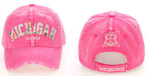 Pink Floral Michigan Baseball Hat
