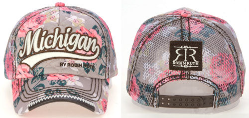 Michigan Pink / Grey Floral Baseball Cap