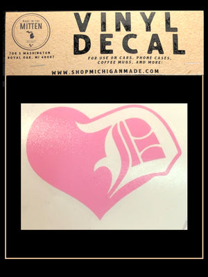 Detroit Love Heart D Decal