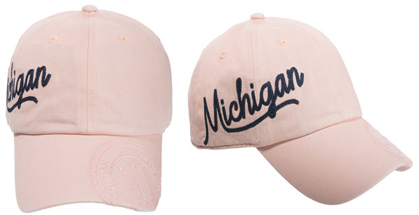 Michigan Script Soft Women's Baseball Cap - Pink / Teal