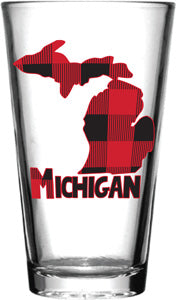Michigan Buffalo Plaid Pint Glass