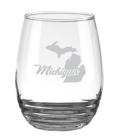 Michigan Etched Wine Glass