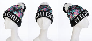 Michigan Floral Pom Thick Winter Hat