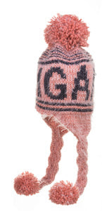 Pink Fuzzy Michigan Pom Over The Ears Winter Hat