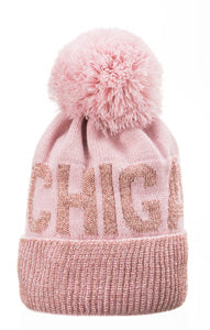 Michigan Pink Glitter Winter Hat