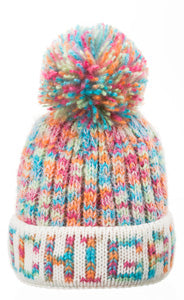 Michigan Pom Rainbow Knit Winter Hat