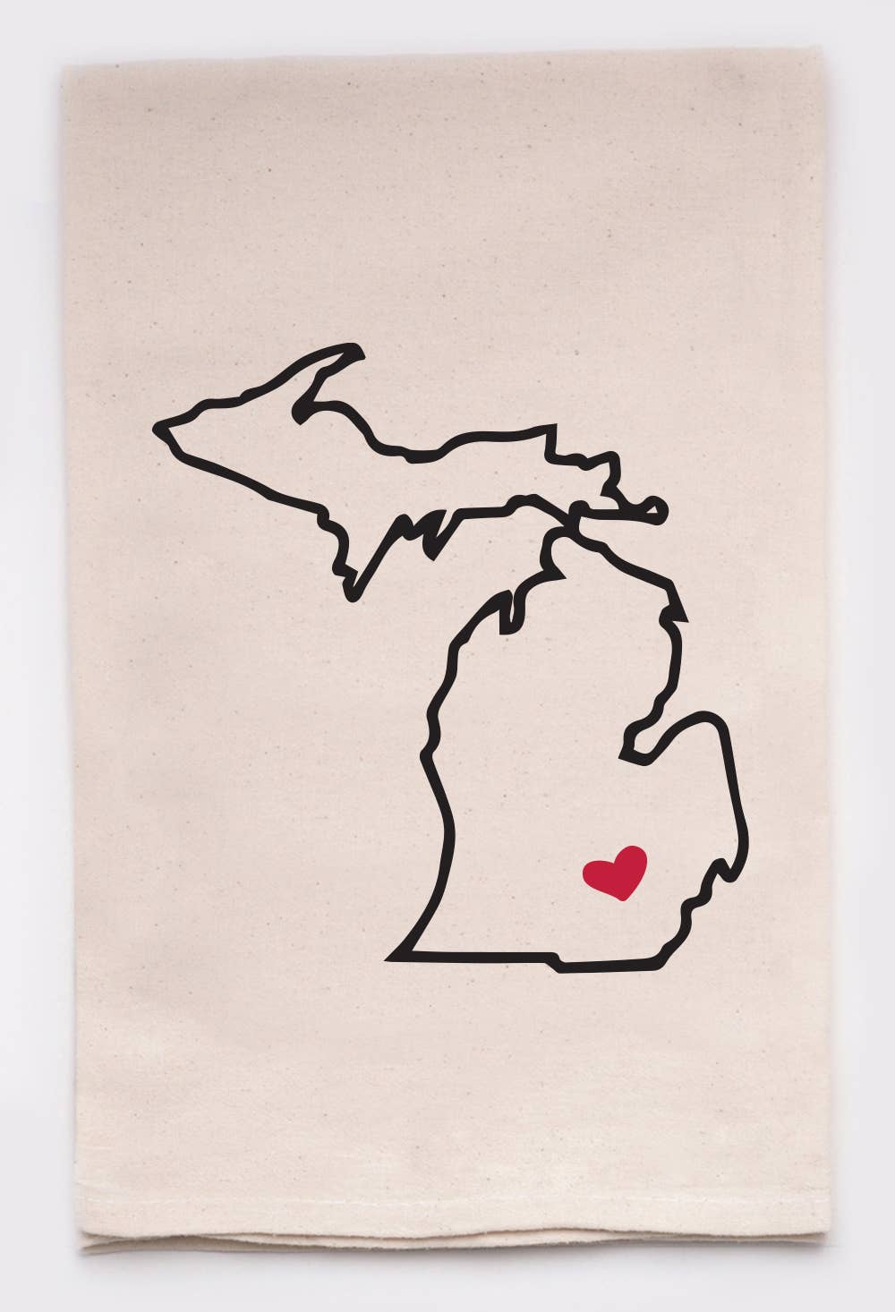 Michigan Love My State Kitchen Tea Towel With Heart Pin
