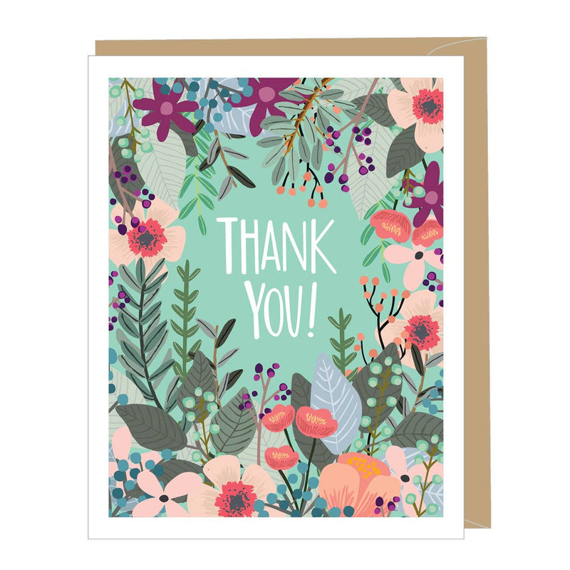 Beautiful Floral Thank You Card (single or boxed)