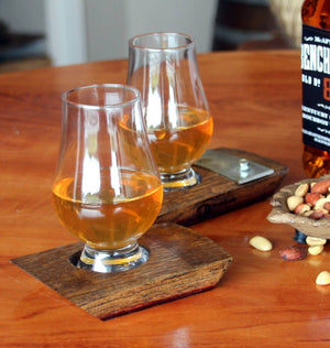 Glencairn Glass & Coaster Made From A Whiskey Barrel