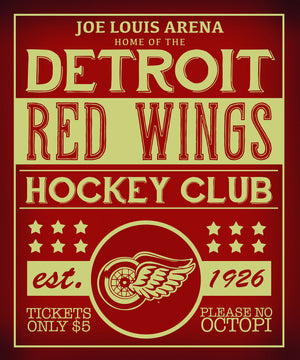 Red Wings Vintage Hockey 11x17 Poster - Great Lakes Gift Co.