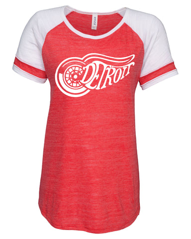 Ladies Detroit Red Wings Raglan T-Shirt