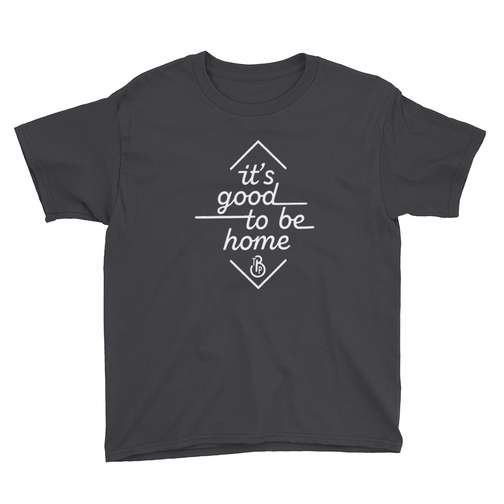 """It's Good to Be Home"" Black Short-Sleeve Youth T-Shirt"