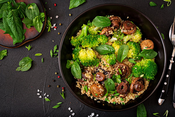 Vegan Quinoa Lunch Bowl with Broccoli and Mushrooms