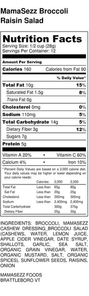 Broccoli Raisin Salad Nutrition Information
