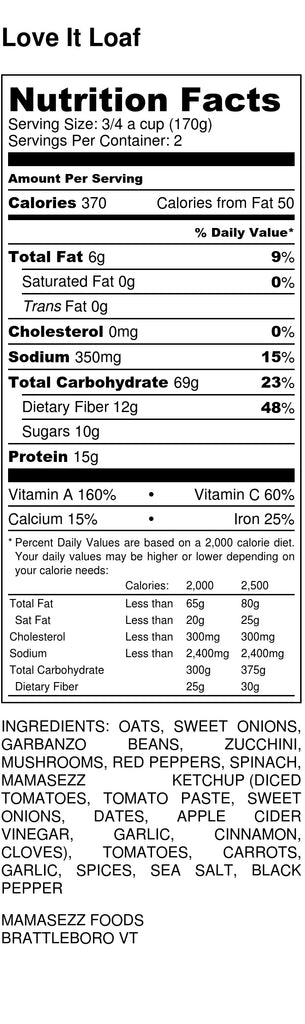 MamaSezz Kid-Friendly Veggie Loaf Nutritional Information