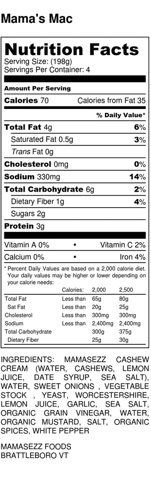Mama's Mac Sauce Nutrition Information