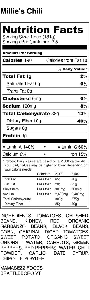 Millie's Chili Nutrition Label
