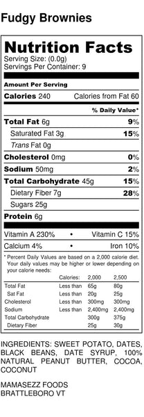 Nutrition Label WFPB Fudge Brownies