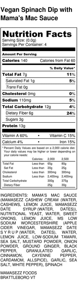 Vegan Spinach Dip Nutritional Information