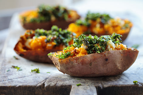 green goddess stuffed sweet potatoes