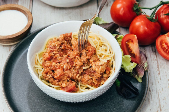 MamaSezz bolognese with pasta plant based pasta