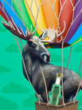 too much absinthe...or really a flying moose? (puzzle + absinthe + gift box)