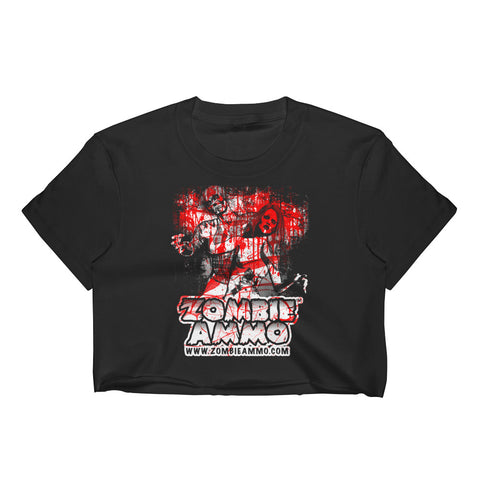 "Zombie Ammo Classic ""Seen some Things"" White/Red Women's Crop Top"